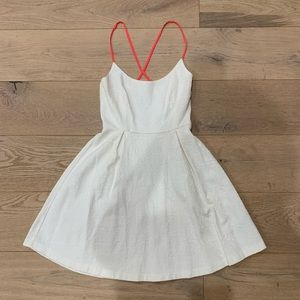 Zara White Textured Dress with Hot Pink Straps